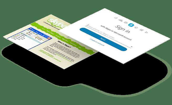 Website Design - 20 year challenge - Skype